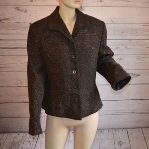 Apostrophe Brown Wool Silk Tweed Blend Blazer 16